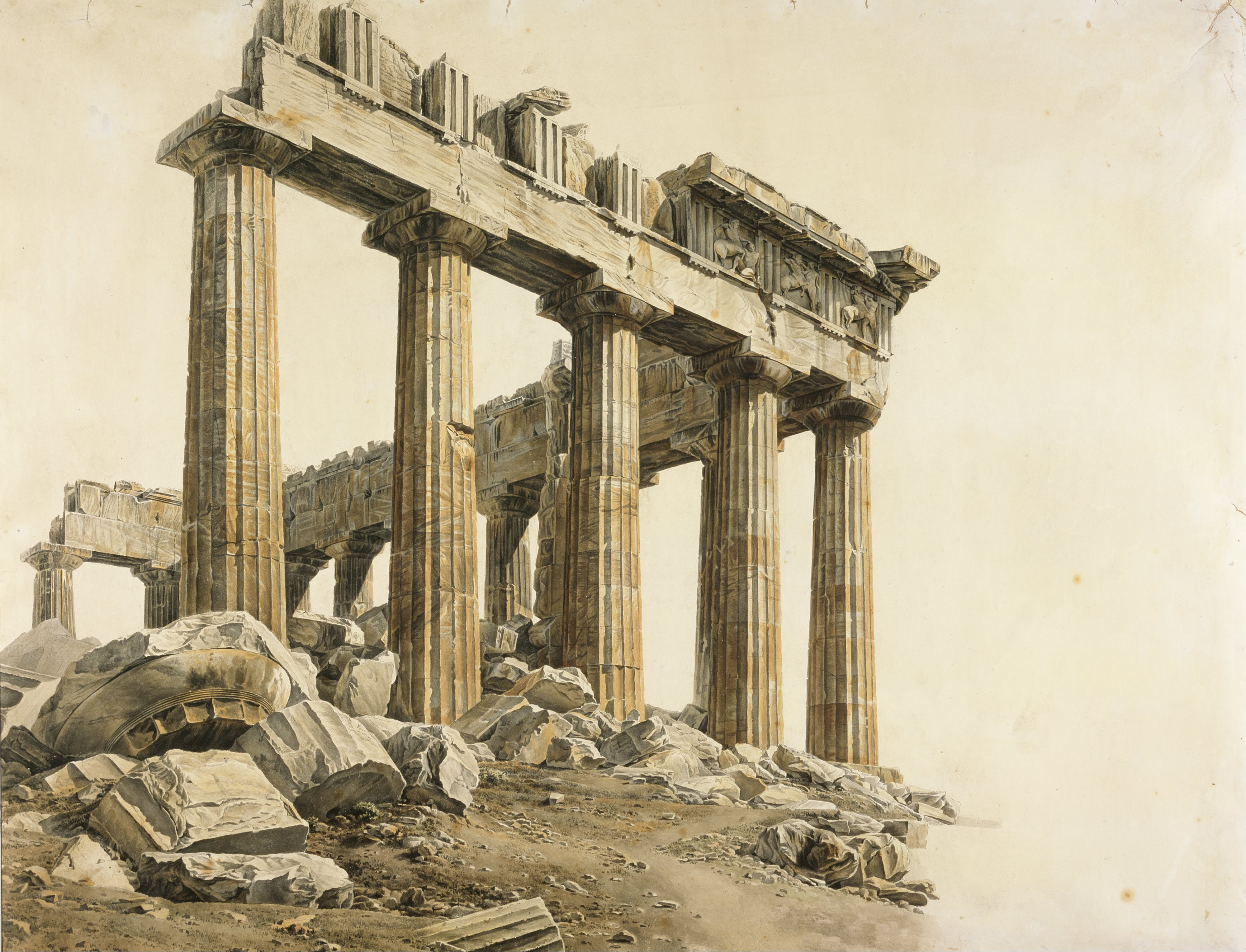 Esquina Sudeste del Partenón. Acuarela sobre papel (Lusieri, 1803)