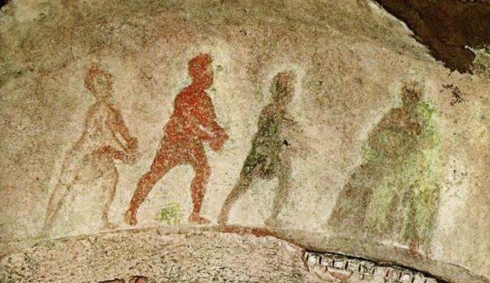Adoración de los Magos. Siglo III d. C. Catacumbas de Priscila, Roma (Italia)