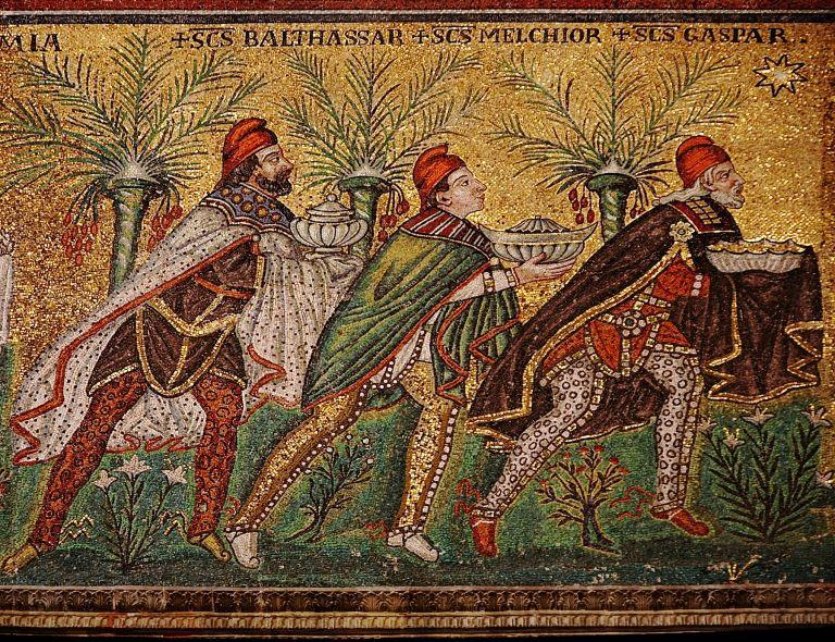 Mosaico de los Reyes Magos, siglo VI. San Apolinar el Nuevo, Rávena (Italia)
