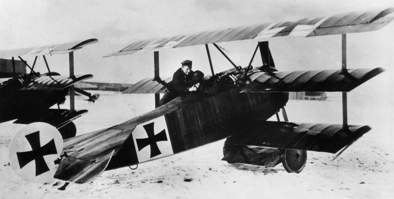 El Barón Rojo en su Fokker Dr. I (1918)