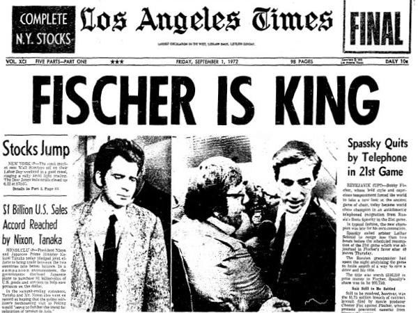 Los Angeles Times. Portada del 1 de septiembre de 1972.