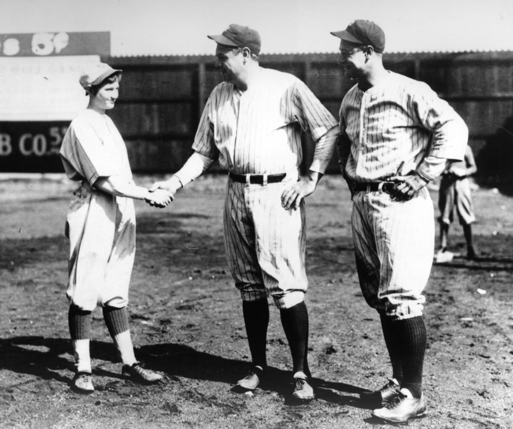 Jackie Mitchell Babe Ruth & Lou Gehrig