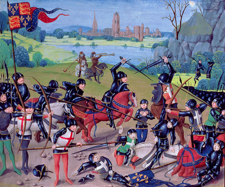Batalla de Agincourt en una miniatura del siglo XV