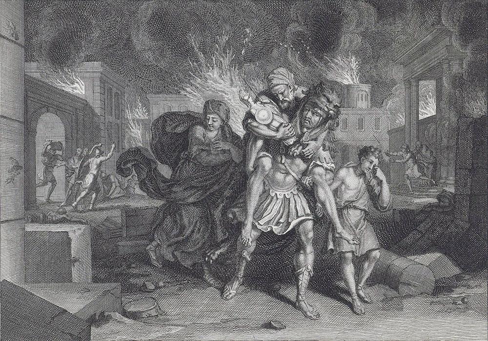 Eneas huye de Troya. Obra de Bernard Picart (1731)