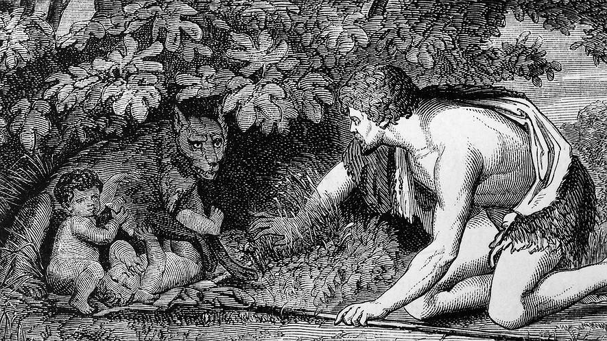 Fáustulo encuentra a Rómulo y Remo. M. Michel (1900)